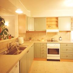 美しいポーラルグリーンのシステムキッチンはスウェーデン製。設備や部材も直輸入なのでリーズナブルです。オール電化仕様を採用し、お手入れがしやすく、すっきりした印象のキッチン空間に仕上げました。